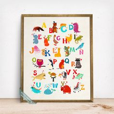 Animal Alphabet Print Alphabet Decor Alphabet Wall by VocaPrints