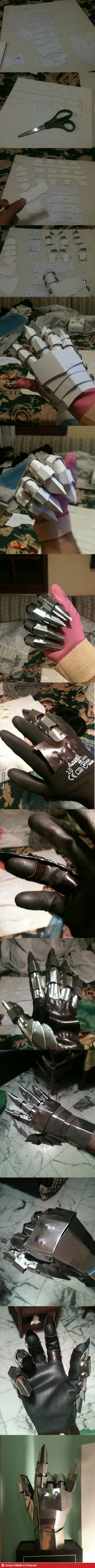 Step by step picture guide of how to make a hand-armor gauntlet from stiff paper or cardboard.