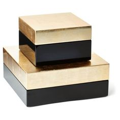 Check out this item at One Kings Lane! Black & Gold Boxes, Asst. of 2