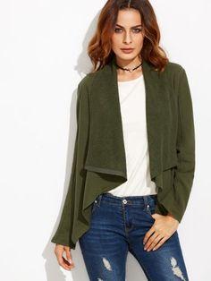 Olive Green Drape Collar Asymmetric Zip Jacket