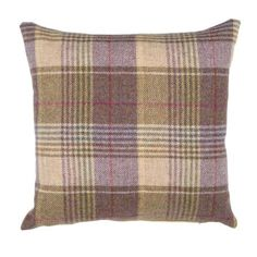 Featuring a tartan design in a choice of colours, our tweed cushion is crafted from wool and cotton and has a removable machine washable cover. Mauve Living Room, Living Room Decor Brown Couch, Cottage Living Rooms, My Living Room, Cottage Bedrooms, Curtains Living, Hunting Lodge Decor, Cushion Filling, Plaid