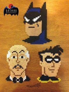 From Batman: The Animated Series, The Bat-Family: Batman, Alfred and Robin - Perler Bead Creations by RockerDragonfly