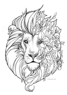 Fantasy Lion Coloring Book PagesPrintable Adult PagesAnimal