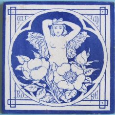 "Antique Minton China Works Picture Tile - Spirit of the Flowers:  ""Wild Rose"""