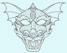 Printable Dragon Mask Coloring Page   Dragon mask, Masking and Dragons