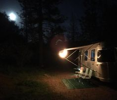 Louise the airstream under a full moon at Yosemite. #supportnationalparks #yosemitenationalpark #adventuretime #airstreaming #eastbound