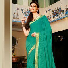 Turquoise Faux Chiffon Jacquard Saree with Blouse
