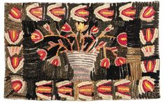 Folk Art Floral Shirred Rug, late 19th century, a central pot of red and yellow flowers against a black background and flower border, stitched to a canvas backing, ht. 30, wd. 48 in.