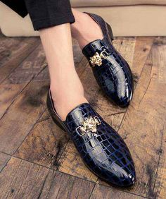 Men's #blue leather slip on #DressShoes check metal decorated design, Point toe, work, office, business occasions.