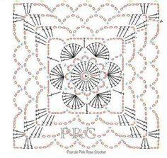 Mattonella Crochet Motif Patterns, Granny Square Crochet Pattern, Crochet Diagram, Crochet Chart, Crochet Squares, Crochet Granny, Granny Squares, Crochet Wool, Crochet Blocks