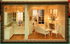 Ray Whitledge Miniatures Sofa | Kitchen and French Style Living Room Roombox from the Fall 2009 ...