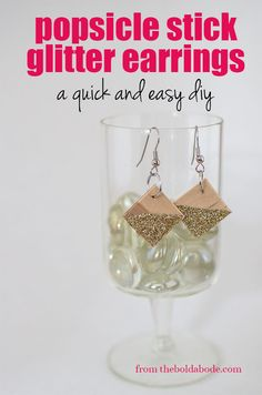 Make these gorgeous Popsicle Stick Glitter Earrings with Gwen from theboldabode.com. You'll never look at popsicle sticks the same way again!