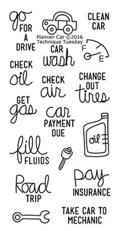 """TECHNIQUE TUESDAY: Planner Car (2"""" x 4"""" Clear Photopolymer Stamp Set) This clear photopolymer stamp set is perfect for planners, calendars, reminders, pocket scrapbooks and cards. Set measures approxi"""