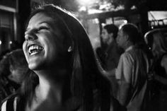 Andrea laughing in some street during Flux Night, Atlanta, GA, USA, 2013