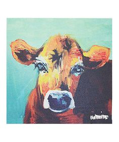 Love this Blue Cow Wrapped Canvas on #zulily! #zulilyfinds Is it wrong that I love paintings of cow??
