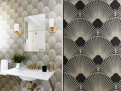 Salle de bain avec papier peint de style art déco                                                                                                                                                                                 Plus