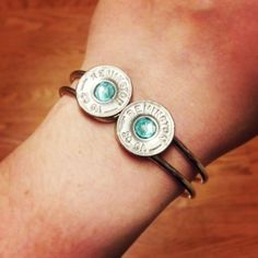 20 Gauge Spent Shotgun Shell Bangle Bracelet - Silver Bullet with Light Blue Rhinestone
