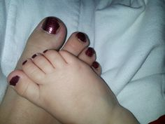 Picture of the first time you paint your little girls toes :) Mommy and me!! Cute!