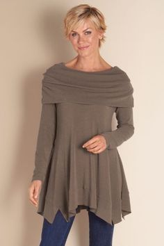 B'call Tunic - Cowl Tunic, A Line Tunic, Heavy Tunic Top, Long Sleeve Tunic | Soft Surroundings