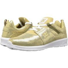 DC Heathrow SE (Gold) Women's Skate Shoes ($40) ❤ liked on Polyvore featuring shoes, gold, yellow gold shoes, lightweight shoes, structure shoes, toe cap skate shoes and cap toe shoes