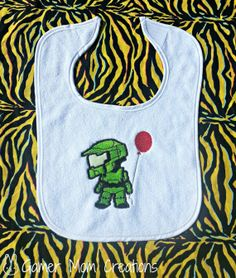 Halo inspired Master Chief embroidered Bib by GamerMomCreations, $7.20