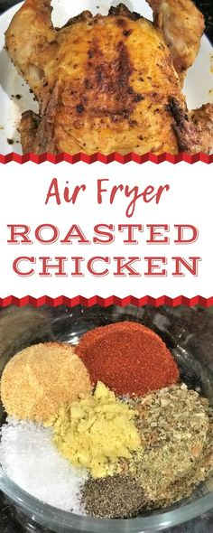 This Air Fryer Whole Roasted Chicken is full of flavor and so easy to make. No dull chicken here! This Air Fryer Whole Roasted Chicken is full of flavor and so easy to make. No dull chicken here! Cooking Whole Chicken, Whole Roasted Chicken, Fried Chicken, How To Cook Hamburgers, Air Fryer Pork Chops, Roast Chicken Recipes, Winner Winner Chicken Dinner, Air Frying, Chicken Seasoning