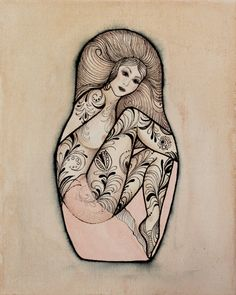 Painting on canvas Matryoshka tattoo watercolor by boutiqueMELANGE, €43.50