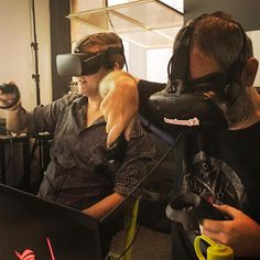 Our Virtual Reality Design students immersing themselves in their creations. #vr #virtualreality #education #innovation #mixedreality #htcvive #htc