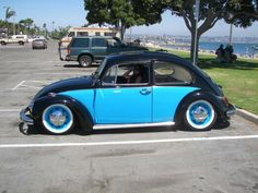 Lowered two tone vw super beetle