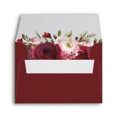 Shop Rustic Burgundy Blush Floral RSVP Address Envelope created by special_stationery. Wedding Envelopes, Wedding Rsvp, Elegant Wedding, Wedding Invitations, Floral Wedding, Wedding Gifts, Graduation Balloons, 10 Envelope, Custom Printed Envelopes