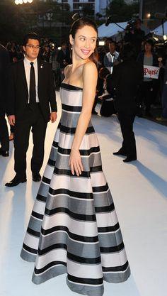 This Week's Best Dressed: Olga Kurylenko wore pre-Fall 2013 Christian @Dior at the #Oblivion premiere in Tokyo.