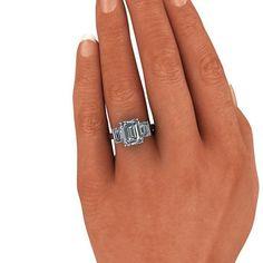 SUPERNOVA Colorless Moissanite Emerald cut Three Stone Engagement Ring 4.70 CTW