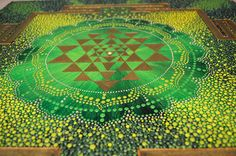 Golden Sri Yantra Mandala Original Painting Acrylic by OleseaArts