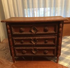 French Country Tramp Art Chest of Drawers by FrenchAntiques4u