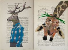 I love how these are drawn onto old book pages.  I am always afraid to deface an old book, but this might be an awesome way to save some old books from the landfill...