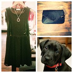 Whoever said all black was too much black was severely mistaken. Love the edge on this black lace dress ($65), @lucydaltonjewelry necklace ($72), and a black clutch to match.