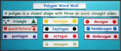 Polygon-Word-Wall $ #math  Students can count the sides or corners of each shape to deduce the meanings of each polygon word.
