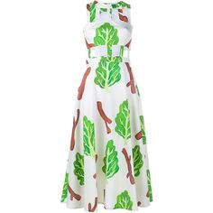 Tata Naka Meme Leaf Print Sleeveless Dress (2.925 RON) ❤ liked on Polyvore featuring dresses, green, green print dress, white a line dress, cut out dress, green sleeveless dress and print dress