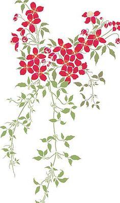 Small Montana Clematis Theme Pack Stencil - Henny Donovan Motif Stencils, Leaf Stencil, Stencil Art, Rooster Stencil, Stencil Patterns, Stencil Designs, Paint Designs, Clematis Flower, Clematis Vine