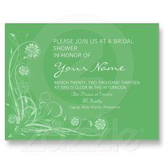 Green Floral Bridal Shower Postcard Invitation