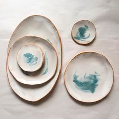 Ocean Plates and Serving Platter by helen levi Pottery Plates, Slab Pottery, Ceramic Pottery, Pottery Art, Ceramic Art, Thrown Pottery, Pottery Studio, Ceramic Bowls, Diy Tableware