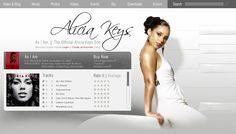 Website concept design submitted for Alicia Keys