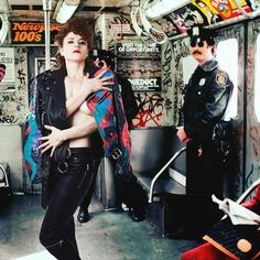 Please officer! Don't arrest me! I'm only guilty of having sinfully 80's fashion sense! ✊ #80s #police #subway #kiesza #tibarazzi #fashionweek