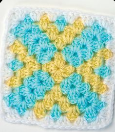 Yellow cross granny square/ would look great in a baby blanket & in those colours/ CROCHET
