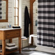 black/grey/white or navy/grey/white for a bathroom.