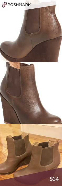 Corso Como Brown Leather Wedge Boots Corso Como Coast Brown Leather Platform Wedge Ankle Boots Women's Size 8M Corso Como Shoes Ankle Boots & Booties