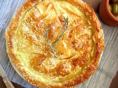 This scrumtpious Greek Cheese Pie has the creamiest feta cheese filling. Wrapped in crispy phyllo and topped with sesame. An Authentic Greek recipe. Phyllo Dough Recipes, Pastry Recipes, Pie Recipes, Cooking Recipes, Vegetarian Recipes, Yummy Recipes, Greek Cheese Pie, Cheese Pies, Breads