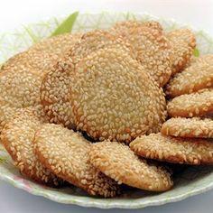 Barazek (syrian Sesame Cookies) With Flour, Sugar, Butter, Salt, Sesame Seeds Arabic Dessert, Arabic Sweets, Arabic Food, Armenian Recipes, Lebanese Recipes, Syrian Recipes, Lebanese Desserts, Sweets Recipes, Dog Food Recipes