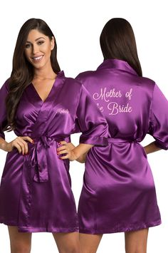 cc56e5f603 Wrap your mom in luxury with Zynotti s personalized embroidered   Motherofthebride satin robe. Personalize the