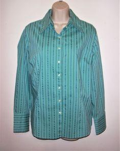 6b381f1637df0 Merona Womens Size XL Buttons Down Top Blouse Stretch Green Teal Striped  Cotton  fashion